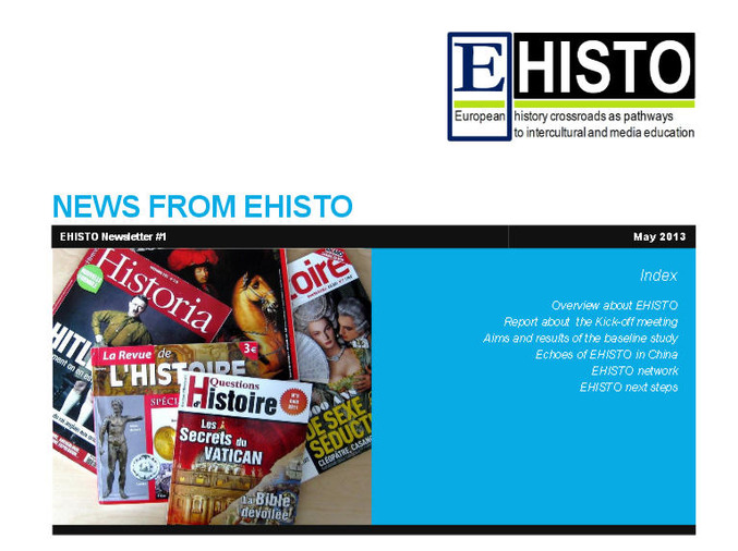 EHISTO-Newsletter #1, Mai 2013