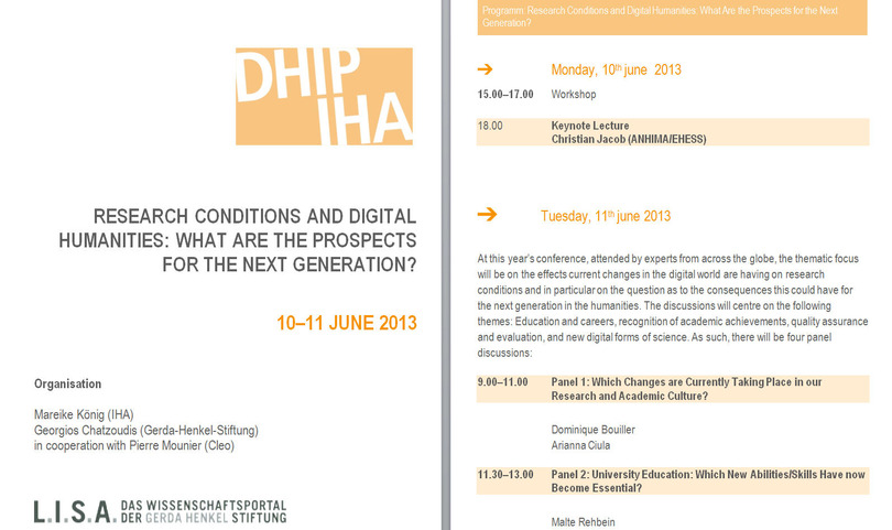 #dhiha | Research Conditions and Digital Humanities: What are the prospects for the next generation? 