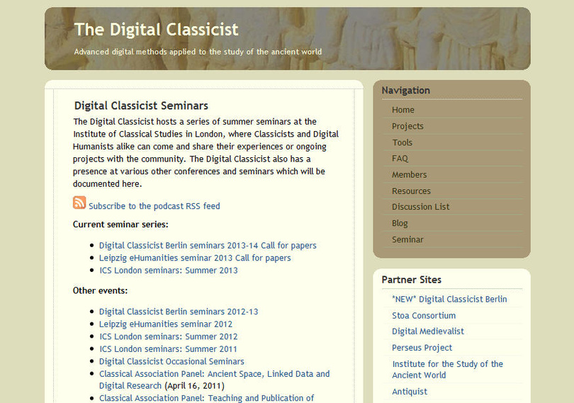 Digital Classicist Seminar Berlin 2013/14: Call for Papers