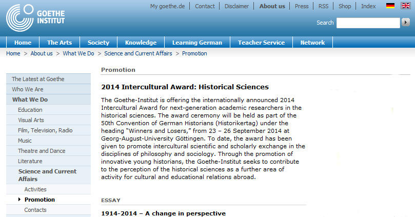 "2014 Intercultural Award: Historical Sciences - ""1914-2014 – A change in perspective"""