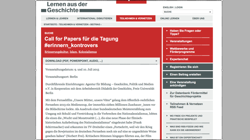 Call for Papers für die Tagung #erinnern_kontrovers