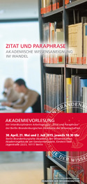 "Akademievorlesung ""Zitat und Paraphrase"" 