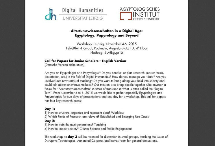 Call for Papers: Altertumswissenschaften in a Digital Age: Egyptology, Papyrology and Beyond