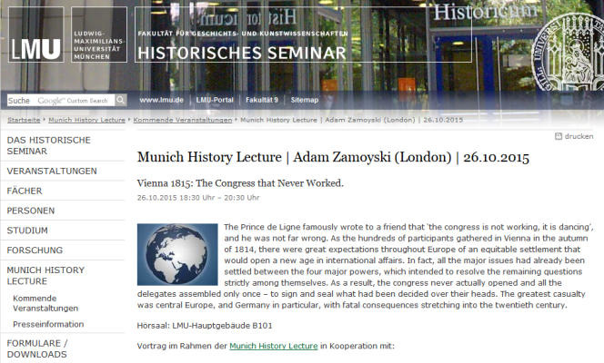 Munich History Lecture | Adam Zamoyski (London): Vienna 1815: The Congress that Never Worked