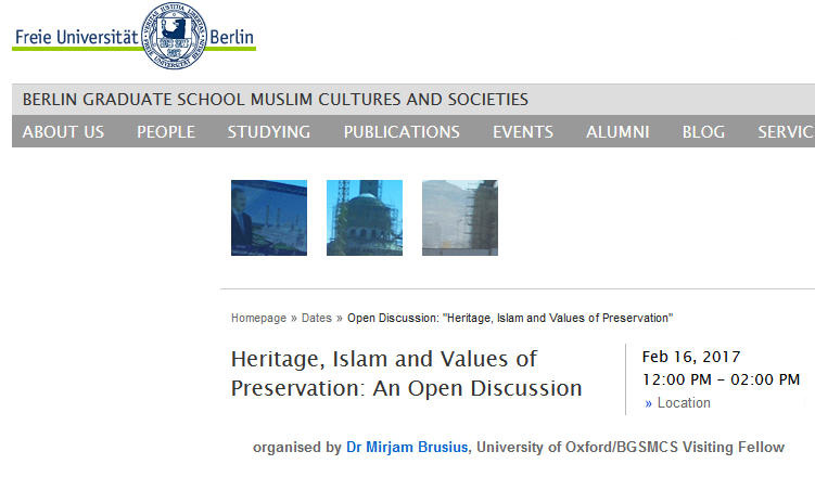 Heritage, Islam and Values of Preservation: